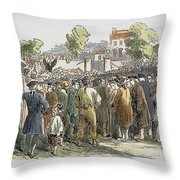 George Whitefield /n(1714-1770). English Evangelist, Preaching To A Crowd: Engraving, 19th Century Throw Pillow