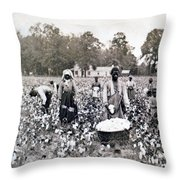 Georgia Cotton Field - C 1898 Throw Pillow