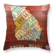 Georgia License Plate Map Throw Pillow