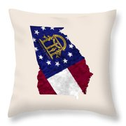 Georgia Map Art With Flag Design Throw Pillow