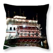 Georgia Queen Riverboat On The Savannah Riverfront Throw Pillow