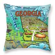 Georgia Usa Cartoon Map Throw Pillow