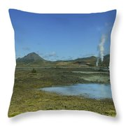 Geothermal Power Station Iceland  Throw Pillow