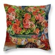 Geraniums And Cats Throw Pillow