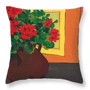 Geraniums In Saint-pompon Throw Pillow