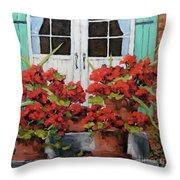 Geraniums On The Porch Throw Pillow