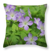 Geraniums Spring Wildflowers Throw Pillow