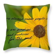 Gerber Daisy Quote Throw Pillow