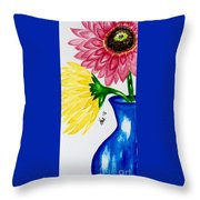 Gerber Daisy Vase  Throw Pillow