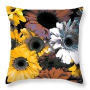Gerbera Cluster Throw Pillow