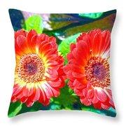 Gerbera Couple Throw Pillow