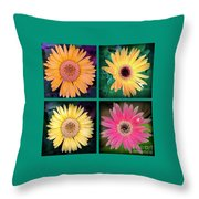 Gerbera Daisy Collage In Square Throw Pillow