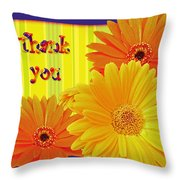Gerbera Daisy Thank You Card Throw Pillow