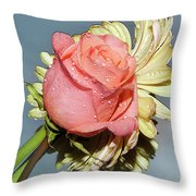 Gerbers With The Rose Throw Pillow
