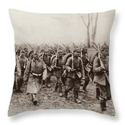 German And Austrian Soldiers Marching Throw Pillow