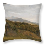 German Landscape With View Towards A Broad Valley , Fritz Petzholdt Throw Pillow