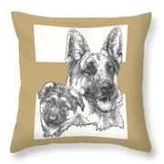 German Shepherd And Pup Throw Pillow