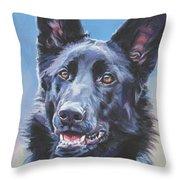 German Shepherd Black Throw Pillow