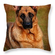 German Shepherd Dog Portrait  Throw Pillow by Angie Tirado