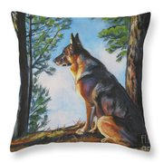 German Shepherd Lookout Throw Pillow by Lee Ann Shepard