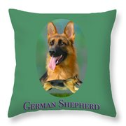 German Shepherd With Name Logo Throw Pillow