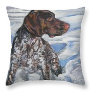German Shorthaired Pointer In The Snowdrift Throw Pillow