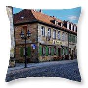 German Street Scene Throw Pillow