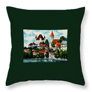 Germany - Clouds Above The Rhine Throw Pillow