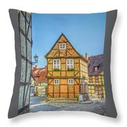Germany - Half-timbered Houses And Alleys In Quedlinburg Throw Pillow