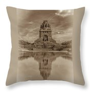 Germany - Monument To The Battle Of The Nations In Leipzig, Saxony, In Sepia Throw Pillow