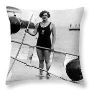 Gertrude Ederle (1906-2003) Throw Pillow