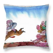 Get Ready For Corporate  Horse Racing Throw Pillow