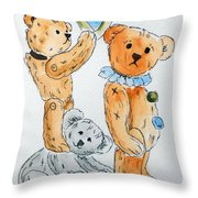 Get Ready Teddy Throw Pillow