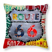 Get Your Kicks On Route 66 Recycled Vintage State License Plate Art By Design Turnpike Throw Pillow