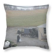 Getting Ready To Load The Buggy Throw Pillow
