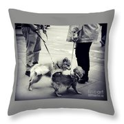 Getting To Know You - Puppies On Parade Throw Pillow