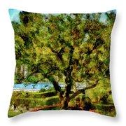 Getty Villa Landscape Throw Pillow