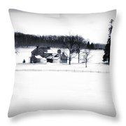 Gettysburg Farm In Winter Throw Pillow