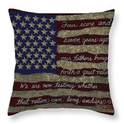 Gettysburg Homage Flag Throw Pillow