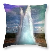 The Great Geysir - Iceland Throw Pillow