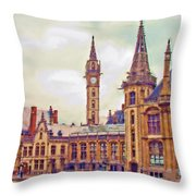 Ghent Canal Scene 2 Throw Pillow