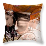 Ghost In The Carriage House Throw Pillow