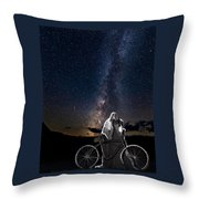 Ghost Rider Under The Milky Way. Throw Pillow by James Sage