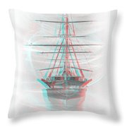 Ghost Ship - Use Red-cyan 3d Glasses Throw Pillow