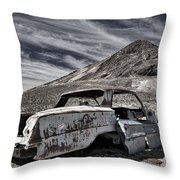 Ghost Town Junked Car Throw Pillow