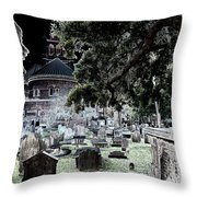Ghostly Cemetary Throw Pillow