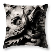 Ghostly Dragon Throw Pillow