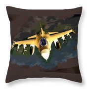 Ghostly Fighter Jet In The Sky Above The Earth Throw Pillow