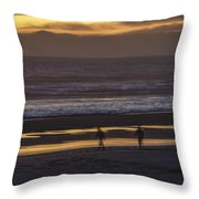 Ghostly Sunset Walk Throw Pillow