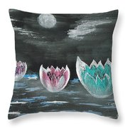 Giant Lilies Upon Misty Waters Throw Pillow